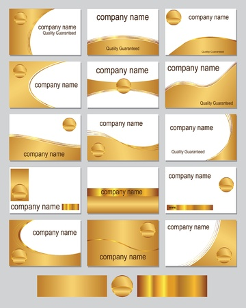 company name: Fifteen business card designs in gold metallic colours