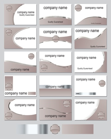 Fifteen business card designs in tan shades with metallic stripes Vector