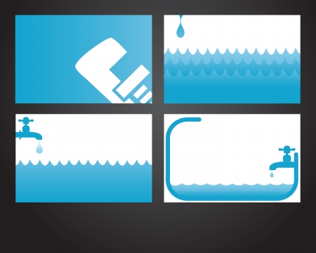 faucet water: Four business card designs for plumbers and handymen