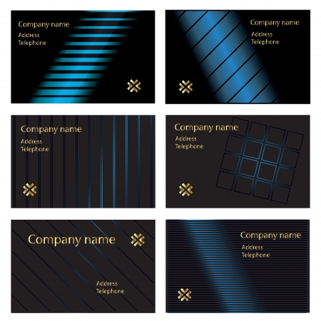namecard: Six gold and blue on black business card designs