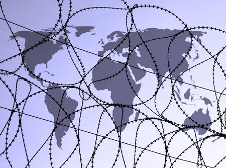 razor wire: Outline map of world overlaid with razor wire.