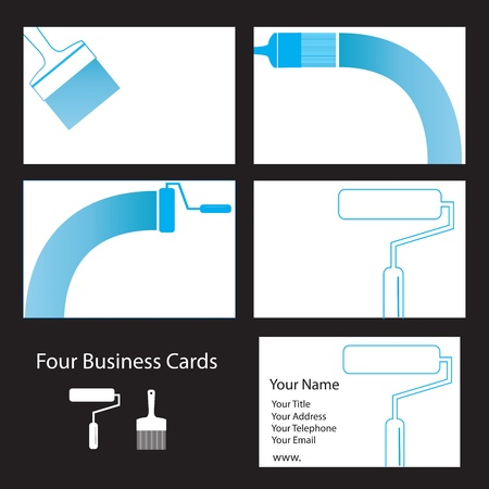 Four business card designs for painters and decorators Vector
