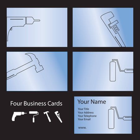Four business card designs using tool shapes Vector