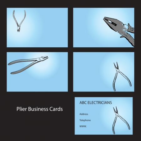 Four business card designs using pliers and cutters Vector