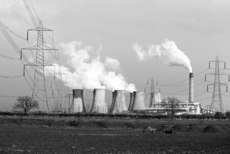 coal fired: View of coal powered power station in North Yorkshire