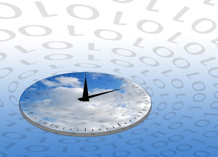distorted: Internet concept showing clock circled by ones and zeros.