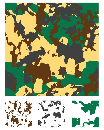 Repeating camouflage pattern for fabrics, fills or backgrounds. Each pattern can be rotated and coloured differently to produce more patterns. Vector