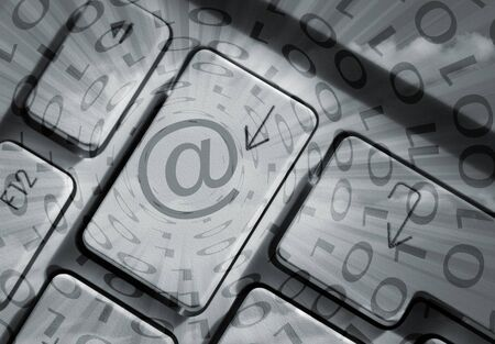 Arrow Keys On Computer Laptop With Email Symbol Stock Photo Picture