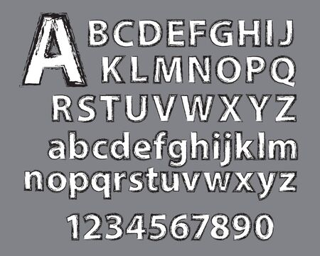 applied: Grunge type effect applied to alphabet and numbers.