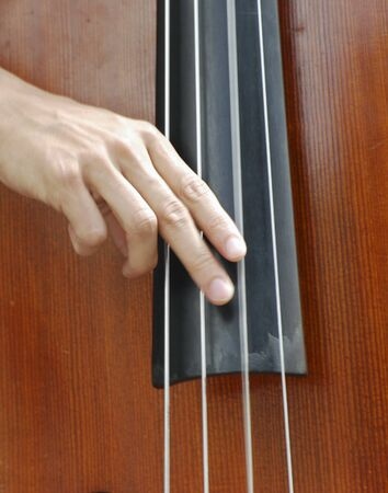 bass player: Closeup of street performer playing double bass  Stock Photo