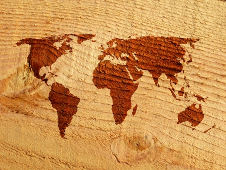 Environmental concept show world map on rough cut wood  photo