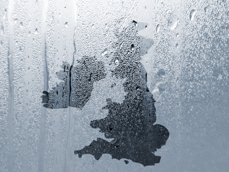 wales: Water pattern overlaid onto UK outline map Stock Photo