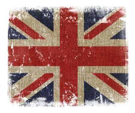 bandera inglesa: Unión Jack británica bandera superpone con textura grunge Foto de archivo