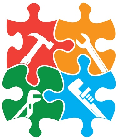 jigsaw piece: Four colored individual jigsaw piece shapes with tool outlines.