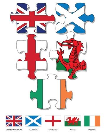 영국과 아일랜드의 국기 가득 다섯 퍼즐 조각