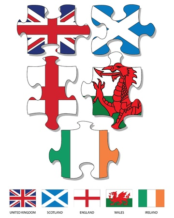 wales: Five jigsaw pieces filled with national flags of UK and Ireland