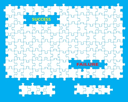moved: Blank jigsaw with missing pieces and the words success and failure  Individual pieces can be moved and colored independently  Illustration