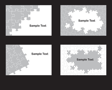 four business card background designs based on jigsaw pieces