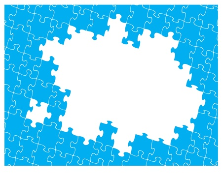 Blue jigsaw pattern with hole for your own design. Jigsaw pieces can be moved or removed to suit your own artwork. Vector