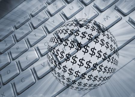 emitting: Computer keyboard overlaid with dollar ball emitting light rays Stock Photo