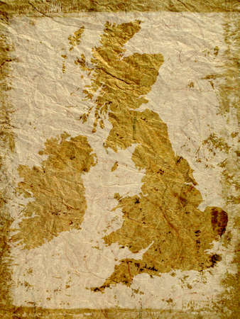 england map: UK outline map overlaid on grunge textured paper