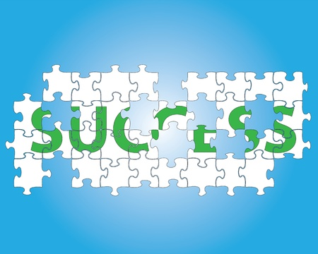 partial: Partial jigsaw puzzle spelling the word success