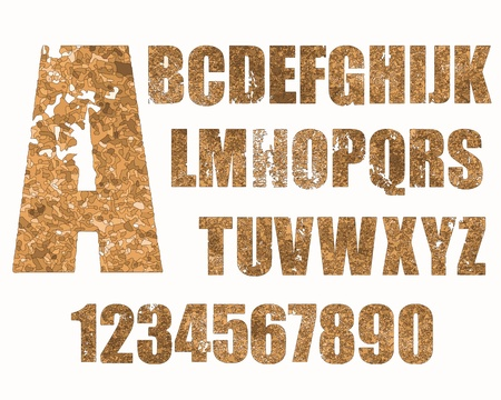 Grunge type pattern applied to alphabet and numbers  Stock Vector - 19985328