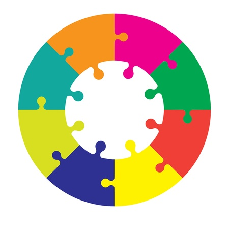 puzzle piece: Ocho piezas rueda rompecabezas en diferentes colores Vectores