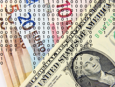 zeros: Ones and zeros overlaid on US dollars and Euro banknotes
