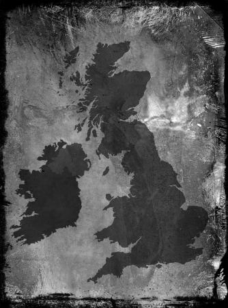 ireland map: Grunge texture pattern overlaid onto UK map
