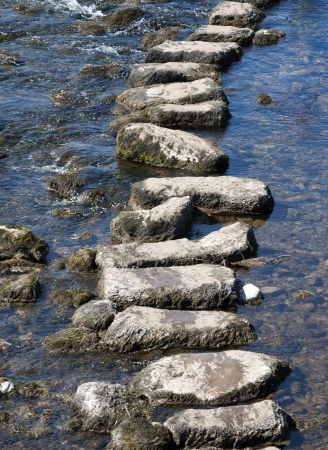 Telephoto view of stepping stones crossing river in Yorkshire Dales  Stock Photo