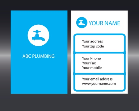Plumbers business card with front and back designs. Vector