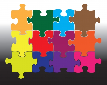 moved: Twelve individual jigsaw pieces in different colours  All pieces can be moved and coloured separately