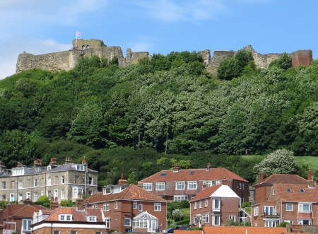north yorkshire: Telephoto view of Scarborough, North Yorkshire, England  Stock Photo