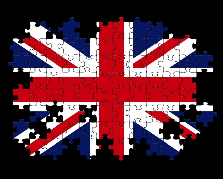 british flag: Jigsaw puzzle of British Union Jack flag with missing pieces  Stock Photo