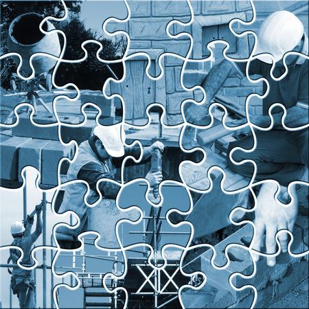 Twenty five piece jigsaw showing range of construction trades  photo