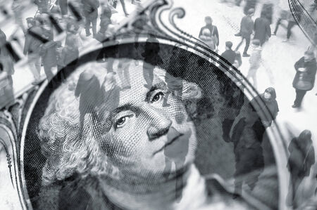 Composite image showing blurred shoppers over one dollar bill photo