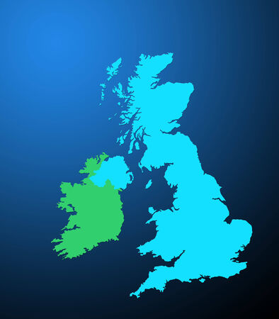 eire: Outline map of UK and Ireland over blue background