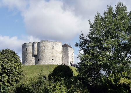 north yorkshire: Postcard view of Cliffords Tower, York, North Yorkshire, England, UK