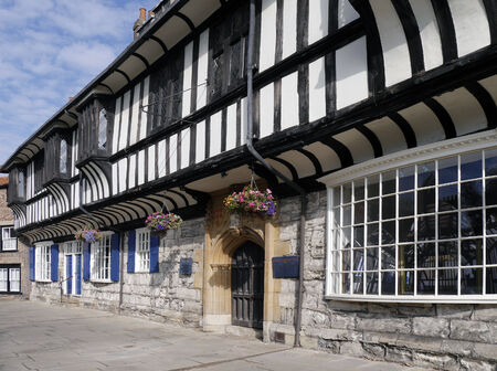 north yorkshire: Closeup view of tudor building in York, North Yorkshire, England, UK. Editorial