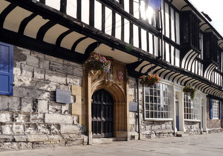 north yorkshire: Close up view of tudor building in York, North Yorkshire, England, UK.