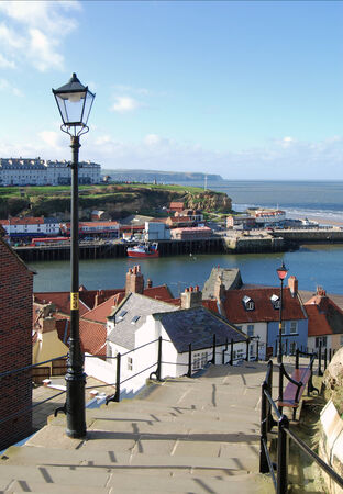 whitby: View of Whitby taken from the famous 199 steps Stock Photo