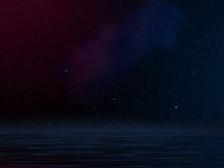 water effect: Computer generated illustration showing stars in galaxy with flood water effect