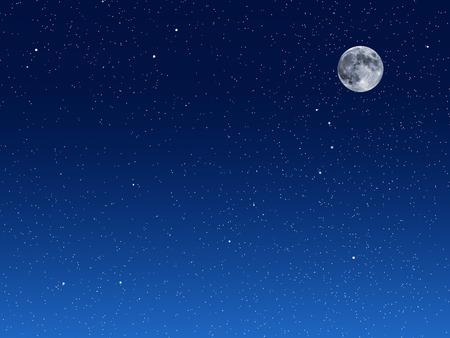 Illustratie van blauwe nachtelijke hemel met maan