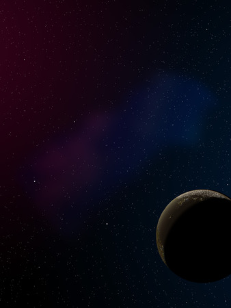 computer generated: Computer generated image of stars with planet in night sky. Stock Photo