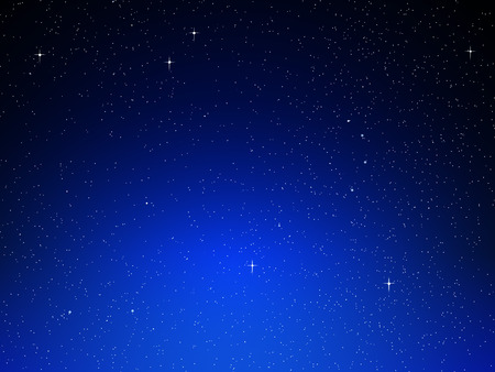 simulations: Illustration of night sky with simulated stars on blue background