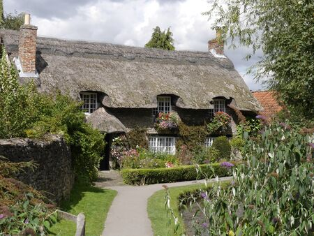 cottage: Picturesque view of thatched cattage in Thornton Le Dale Editorial
