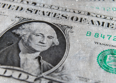 us dollar bill: Closeup of one US dollar bill overlaid with grunge texture