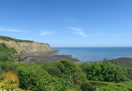 north yorkshire: View of Robin Hood Bay cliffs. Robin Hood Bay, North Yorkshire, UK.
