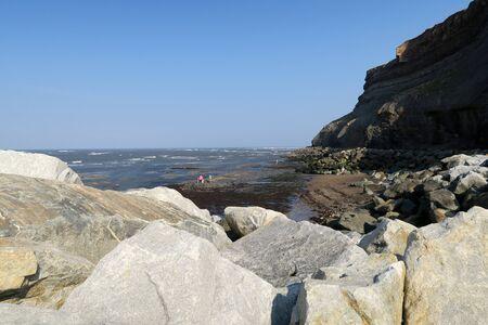 north yorkshire: Family explore rockey beach at Whitby, North Yorkshire, UK. Stock Photo